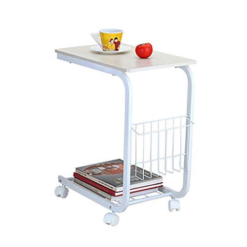 Petite Table D'appoint Élégant Salon Canapé Côté Plusieurs Coins Table D'ordinateur Mobile Table Basse Table Occasionnelle Blanc 500 * 300 * 600mm