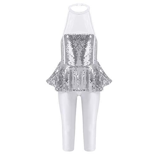 iiniim Vestido de Ballet para Nia Disfraz de Carnaval Dancewear Costume Brillante Leggins de Una Pieza Vestido sin Manga Actuacin Ballet Danza Latina Plateado 5-6 aos