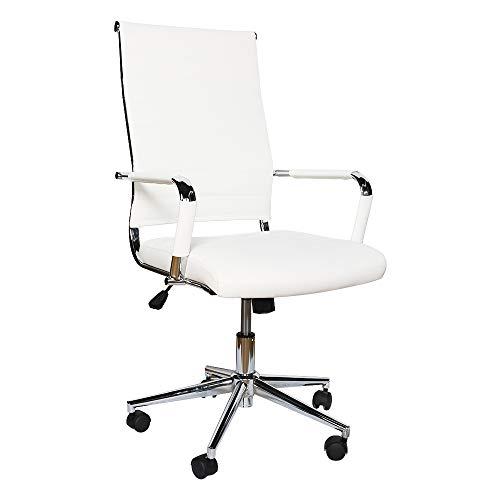 eclife Ergonomischer Bürostuhl, Chefsessel Schreibtischstuhl drehstuhl mit Armlehne, hoher Rückenlehne, Neigungsfunktion, Lordosenstütze, Chrome-Rädern (Weiß)