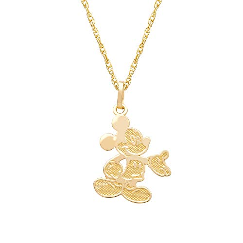 Disney Mickey Mouse 14kt Yellow Gold Classic Mickey Pendant Necklace, 15' Mickey's 90th Birthday Anniversary