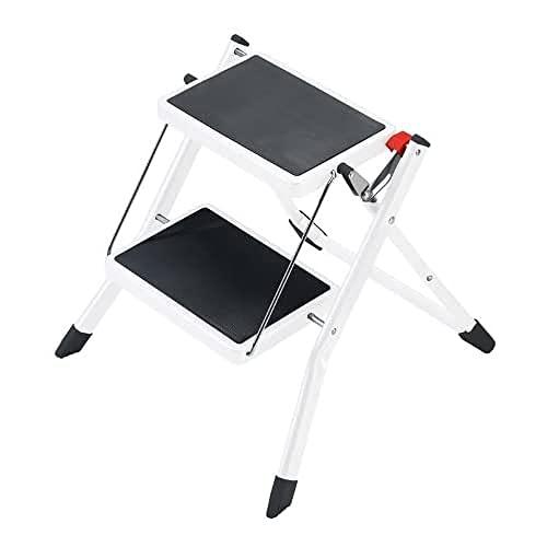 Hailo Mini Taburete de Acero con 2 peldaños y botón de Bloqueo/desbloqueo de Seguridad para su Transporte, Negro, Color Blanco