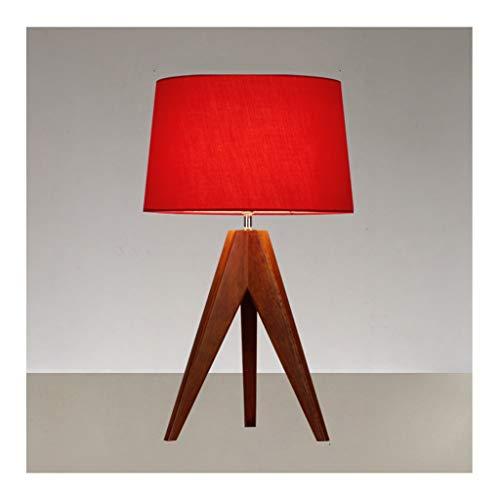 WFL - Lámpara de mesa de mesa de madera clara - 2 colores - Tejido de pantalla E27 * 1 - Decoración Sofa Dormitorio Noche Hotel - Lámpara de mesa de alta calidad (color: A)
