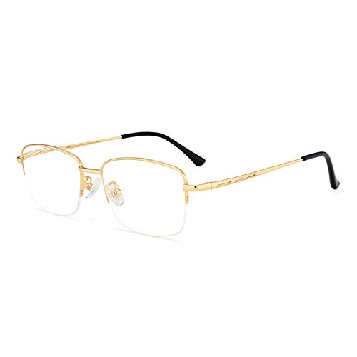 HQMGLASSES Gafas de Lectura Anti-Azul de Titanio Ultraligero de los Hombres, 1.56 índice de refracción Lente de Resina asférica antifatiga Diopter +1.0 a +3.0,Oro,+1.0