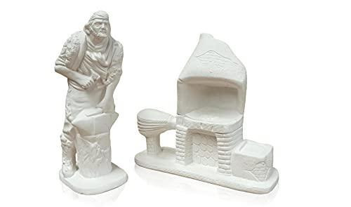 Figura escayola Herrero con forja a Juego. Altura 20 cm. Aproximadamente. Decoración belenes de Navidad para Pintar Manualidades