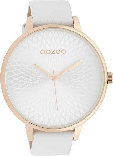 Große Oozoo XXL Damenuhr mit Design Mandala Zifferblatt und Lederband 48 MM Rose/Silberfarben/Weiss C10145
