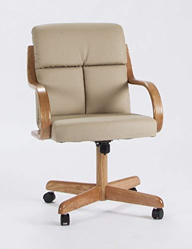 Casual Rolling Caster Dining Chair with Swivel Tilt in Oak Wood with Bonded Leather Seat and Back (1 Chair)