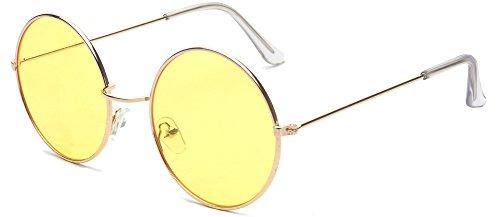 ALWAYSUV Runde Rahmen Vintage John Lennon Polarisierte Sonnenbrille Brillenfassung Hippe Brille Gelb