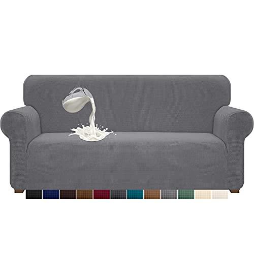Luxurlife - Funda para sofá de 4 plazas, impermeable, de alta elasticidad, antideslizante, con base elástica para mascotas, lavable (4 plazas, gris cielo)