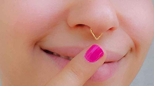 Fake Septum Ring Gold Filled Faux Triangle Nose Piercing Cuff Body Jewelry Non Pierced