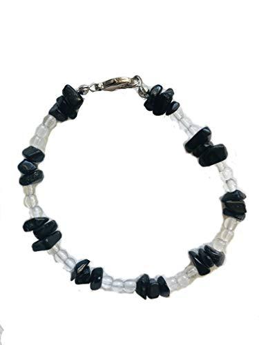 Edelsteen armband splitterarmband | bergkristallen kogels 4 mm en edelsteensplinter toermalijn splitter met sluiting