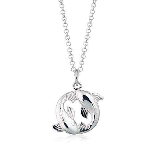 Lily Charmed - Sterling Silver Koi Fish Pisces Zodiac Necklace