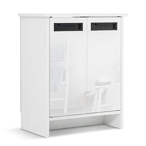 Mondeer - Meuble sous Lavabo de Salle de Bain - 2 Portes Brillantes, Bois, Blanc, 48 x 30 x 60 cm