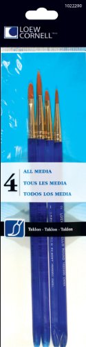 Loew-Cornell 4-Piece All Media Brush Set, Taklon, Round 2, 6 Filbert 3, 5