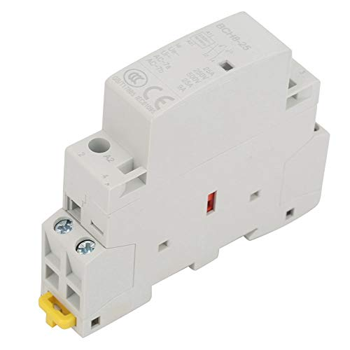Contactor de CA 2P, 25A 220V/230V 50/60HZ 2P 1NO 1NC Contactor de CA para el hogar Montaje en riel DIN Circuito universal