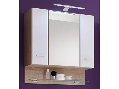 Spiegelschrank Badschrank Wandschrank Spiegel Hängeschrank Badmöbel Barnsley I Sonoma-Eiche/Weiß-Hochglanz