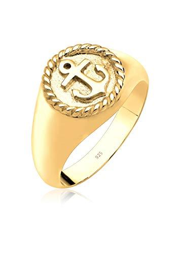 Elli Ring Damen Maritim Anker Siegelring in 925 Sterling Silber