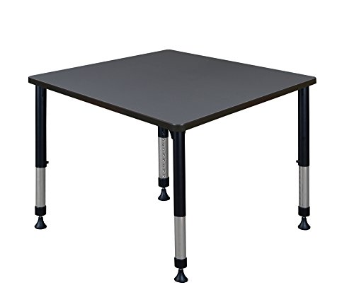 Kee 36' Square Height Adjustable Classroom Table - Grey