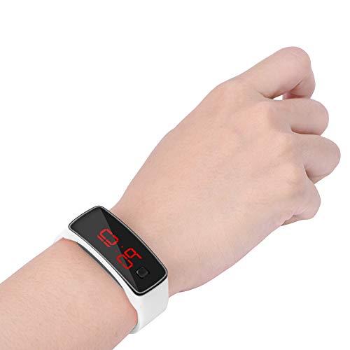 Reloj Digital, Reloj Digital Deportivo, 12 Horas, 22,5 x 1,5 cm, rectángulo para Deporte, para Estudiantes, para Correr de Noche(White)