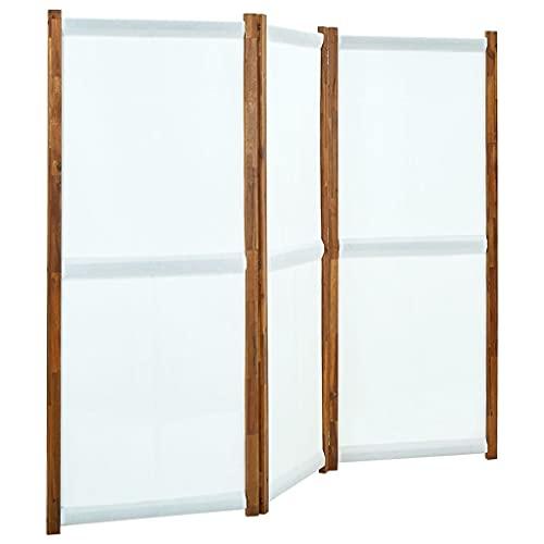 vidaXL Biombo Divisor de 3 Paneles Separador Ambientes Privacidad Pantalla Plegable Partición Habitación Vestidor Decoración Blanco Crema 210x170 cm