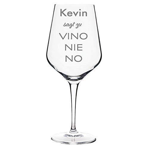 Weinglas mit Gravur - Name sagt zu Vino Nie No   Geburtstagsgeschenk   Weinliebhaber   Weinglas mit Gravur   Weinglas zum Geburtstag