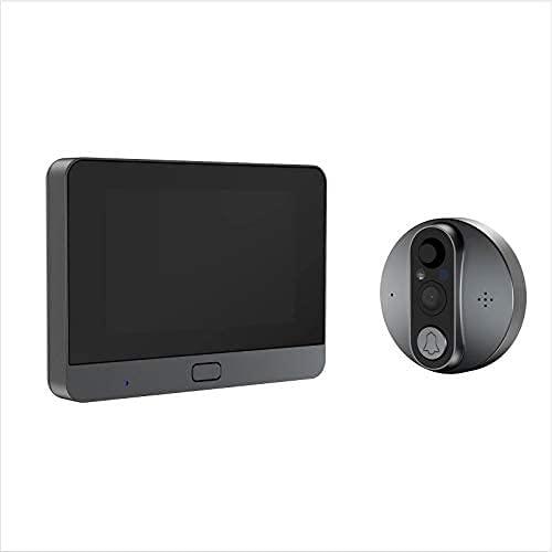 SCDJK Doorbell 4.3 Pantalla 1080p Cámara Visión Nocturna con Detección De Movimiento Ip66 Aumentario Aumentario 6800mah Audio De Dos Vías Compatible con iOS Y Android