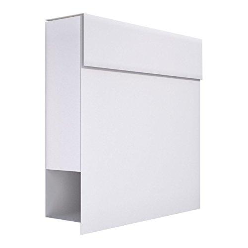 Briefkasten mit Zeitungsfach, Design Wandbriefkasten Manhattan Weiß - Bravios