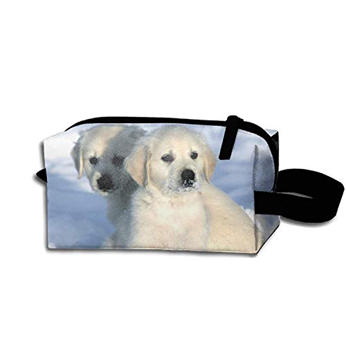 Golden Retriever Dog in The Snow Makeup Pouch Portable Travel Cosmetic Bags Durable Waterproof Pencil Case