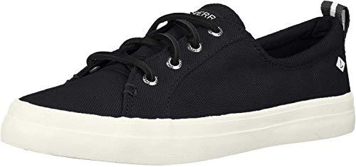 Sperry Womens Crest Vibe Linen Sneaker, Black, 8.5