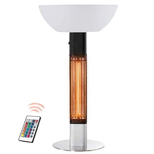 RMYHOME 1500W Electric Patio Heater with Adjustable LED Light, Electric Infrared Radiant Heater for Indoor or Outdoor Use with Remote Control, Waterproof IP55, and Tip Over Protection