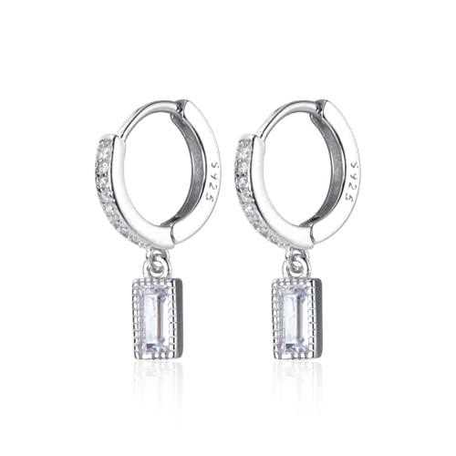 Pendientes de aro de plata de ley 925, minimalistas, lindos y completos con circonita cúbica, para mujeres, regalo diario