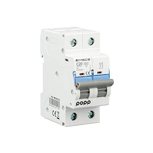 POPP Interruptor Automático Magnetotérmico industrial CURVA C 1P 2P 3P + 6A 10A 16A 20A 25A 32A 40A 50A 63A … (2P, 20A)