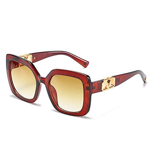 2021 Gafas De Sol Cuadradas De Marco Grande Mujeres De Lujo Diseñador De La Marca De Lujo Eyeaglass De Gran Tamaño Vintage Gradient Lenes Sun Glasses UV400 (Lenses Color : Tea)