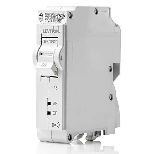 Leviton LB115-DS 15 Amp, 1-Pole Plug-on Smart AFCI/GFCI Branch Circuit Breaker, 120 VAC, White