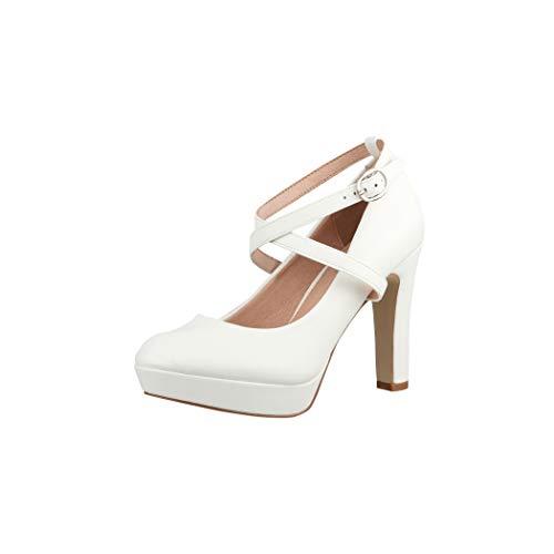 Elara Damen Pumps Riemchen High Heels Vintage Chunkyrayan ZZ535 White-36