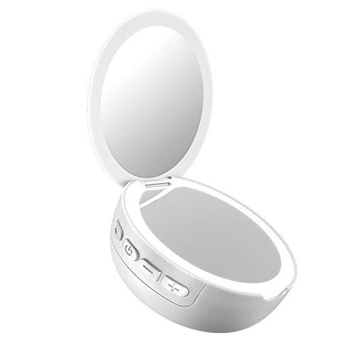 2-in-1 make-upspiegel, 3-voudige vergrotingsspiegel met LED-licht, instelbare helderheid, Bluetooth luidspreker, draagbaar voor thuis, op kantoor, in de schoonheidssalon Medium Wit.