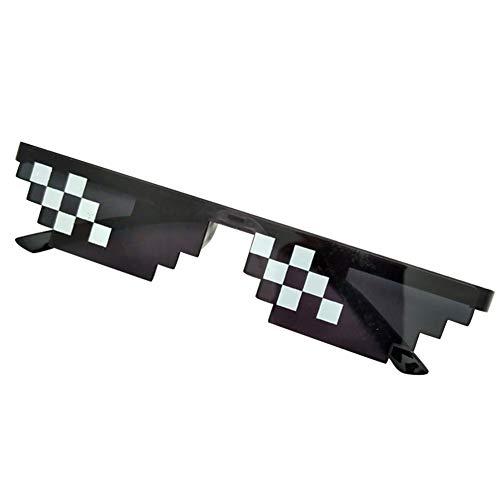 Teekit Männer Frauen MLG Pixelated Sonnenbrille Thug Life Party Brillen Mosaik Vintage Eye Wear,Kleines Doppel