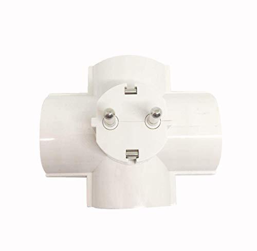Adaptador con 4 tomas de corriente Schuko,Ladron de enchufes 4 tomas Schuko 16a 250v,color blanco
