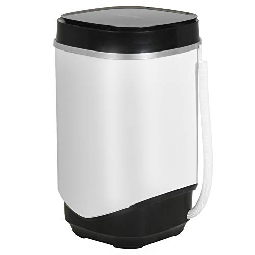 KUPPET Mini Washing Machine Compact Portable Washer With Spin Basket And Drain Hose,Black+ White (8.8lbs)