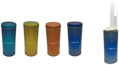 4x Kaffeepaddose - Dekorative Vorratsdosen mit verschiedenen Dekoren - Aufbewahrungsbehälter für Kaffeepads