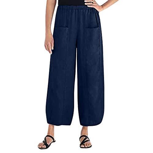 Elastische damesbroek, elastische taille, grote maat, linnen, eenkleurig, beenzakk, brede broek, herfstbroek.