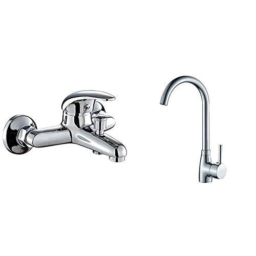 DP Grifería SN-0001 Grifo de bañera, color plateado + GC-0012 Grifo de fregadero, color plateado