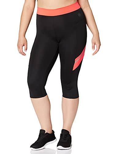 Marca Amazon - AURIQUE Contrast Panels BAL004, Mallas de entrenamiento Mujer, Multicolor (Black/Geranium), 14...