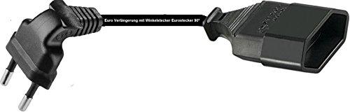 0,25m Euro Verlängerung mit Winkelstecker Eurostecker 90° Kabel schwarz
