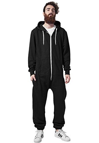 Urban Classics Herren Strampelanzug Sweat Jumpsuit, Black/White - 2