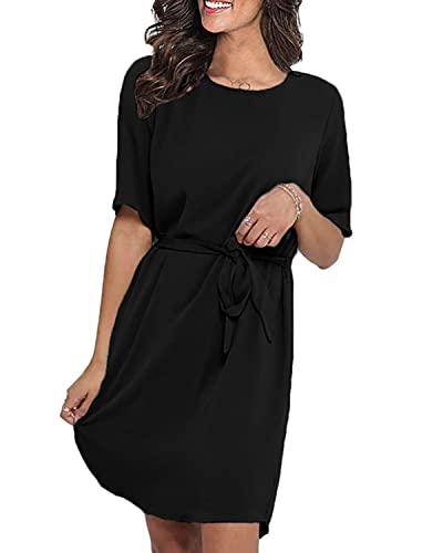 LilyCoco Damen Kleid Elegant Herbst Winter Sexy Kleider für Damen Mädchen Langarm Kurzarm Minikleid mit Gürtel Knielang Schwarz 2XL