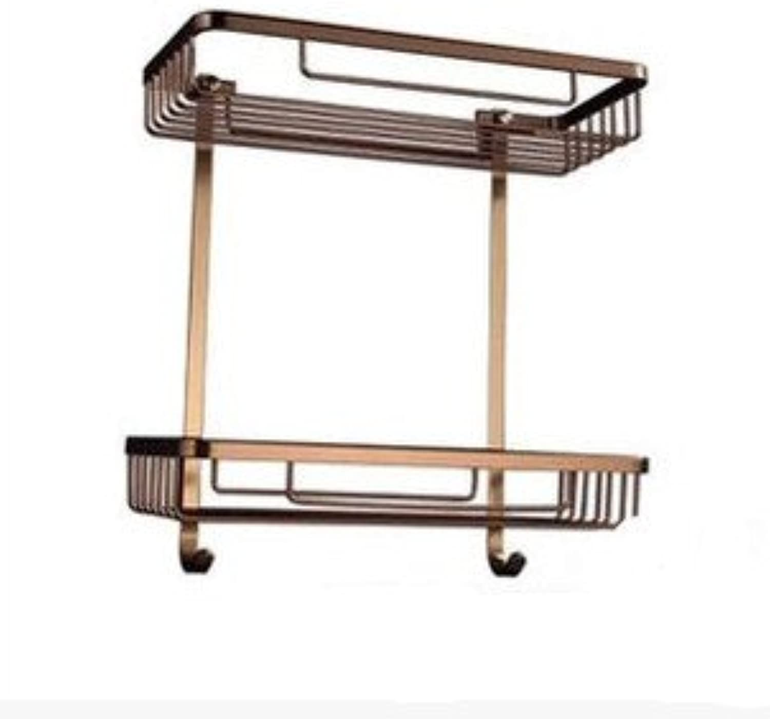 XAH@ Aluminium wire drawing space square double layer glass shelf with hooks