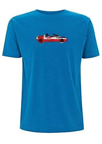Time 4 Tee Lotus Elise S1 T-Shirt Union Jack Best of British Classic Car 111s 1990s Race Gr. M, Electric Blue