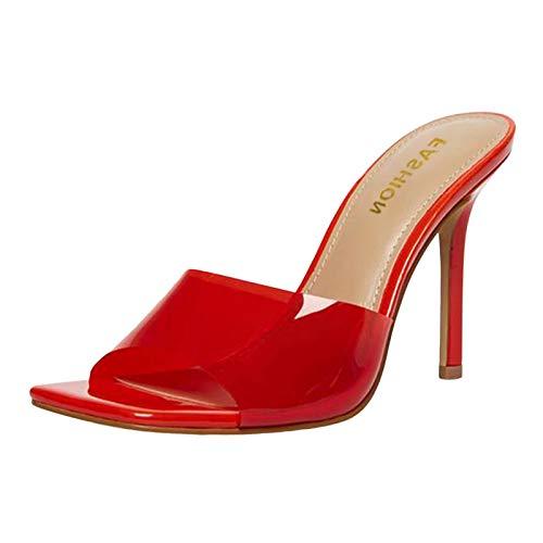 wenyujh Sandaletten Damen Pumps High Heel Sandalen Party Lässige Sommerschuhe Pantoletten Peep Toe Flip Flop Strandsandalen (Rot,43 EU)