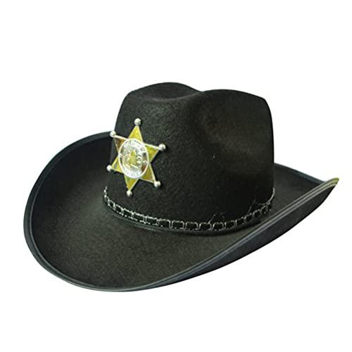 Uonlytech Sombrero Vaquero del Oeste Salvaje Oeste Sombrero del Sheriff Vestido de Fantasa Disfraz de Fiesta de Halloween ( )