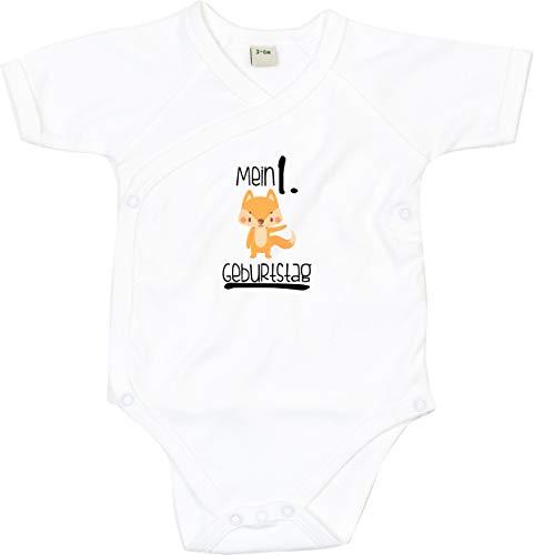 """Kleckerliese Body para bebé con texto en alemán """"Mi primer cumpleaños"""", manga corta, diseño de animales zorro blanco 0-3 Meses"""